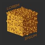 Logotipo isométrico abstracto del cubo Ilustración del vector Icono aislado Elemento del diseño Fotos de archivo