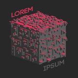 Logotipo isométrico abstracto del cubo Ilustración del vector Icono aislado Elemento del diseño Imagenes de archivo