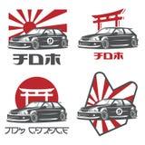 Logotipo japonês velho, emblemas e crachás do carro ilustração do vetor