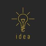 Logotipo ligero del negocio del amarillo de la maqueta de la lámpara, icono fresco de la idea de la innovación Foto de archivo