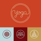 Logotipo linear da ioga do vetor Foto de Stock Royalty Free