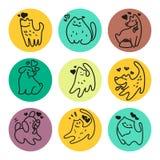 Logotipo liso do animal de estimação do vetor Fotografia de Stock