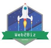 Logotipo liso do espaço Imagens de Stock