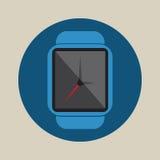 Logotipo liso simples do ícone da aplicação moderna esperta da eletrônica da tecnologia da hora do tempo do relógio Fotos de Stock