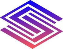 Logotipo listrado e fresco do vetor s fotografia de stock