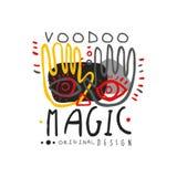 Logotipo mágico africano e americano do vudu com mãos e cara ilustração stock