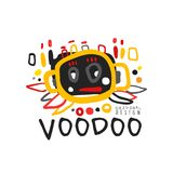 Logotipo mágico ou etiqueta do vudu criativo do desenho do estilo da criança s com a silhueta abstrata da cabeça humana de s Míst ilustração do vetor