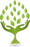 Logotipo, mãos, folhas, Naturopaths ilustração royalty free
