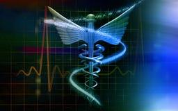 Logotipo médico na cor azul ilustração royalty free