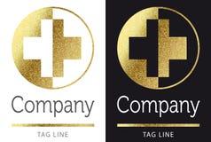 Logotipo médico no ouro Fotografia de Stock