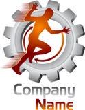 Logotipo móvil del ser humano del engranaje Fotografía de archivo