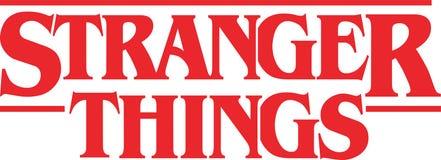 Logotipo mais estranho do vetor das coisas ilustração stock
