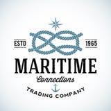 Logotipo marítimo do vetor da empresa comercial do vintage ilustração do vetor