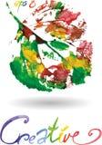 Logotipo moderno criativo da folha da árvore do eco pintado na aquarela ilustração do vetor