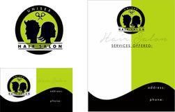 Logotipo moderno del salón de pelo, tarjeta de visita 2 x 3 5, aviador 4 25 x 5 5 Fotografía de archivo libre de regalías