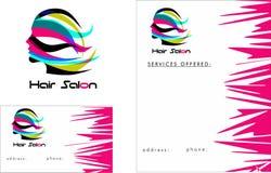 Logotipo moderno del salón de pelo, tarjeta de visita 2 x 3 5, aviador 4 25 x 5 5 Imagen de archivo libre de regalías