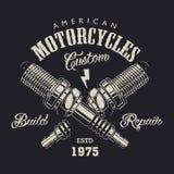 Logotipo monocromático del servicio de la motocicleta Fotografía de archivo