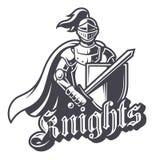 Logotipo monocromático do esporte do cavaleiro Fotos de Stock Royalty Free