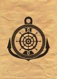 Logotipo náutico en fondo del papel de Kraft Marine Label, insignia del mar ilustración del vector
