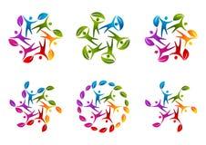 Logotipo natural del trabajo del equipo Fotos de archivo libres de regalías