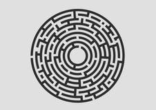 Logotipo negro del laberinto en el fondo blanco Fotos de archivo libres de regalías