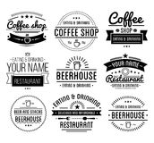 Logotipo negro Plantilla de la cafetería Etiqueta del restaurante Etiqueta de la casa de la cerveza Foto de archivo libre de regalías