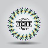 Logotipo no quadro com mini garatujas e texto Imagem de Stock