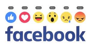 Logotipo novo de Facebook com botão como e reação compreensivo de Emoji ilustração do vetor