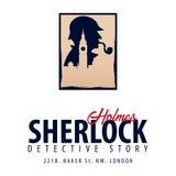 Logotipo o emblema de Sherlock Holmes Ejemplo detective Ejemplo con Sherlock Holmes Calle 221B del panadero Londres INTERDICCIÓN  stock de ilustración