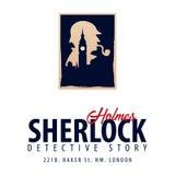 Logotipo o emblema de Sherlock Holmes Ejemplo detective Ejemplo con Sherlock Holmes Calle 221B del panadero Londres INTERDICCIÓN  libre illustration