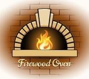 Logotipo o insignia del horno de la leña ilustración del vector