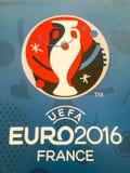 Logotipo oficial do campeonato 2016 europeu do UEFA em França Fotos de Stock Royalty Free