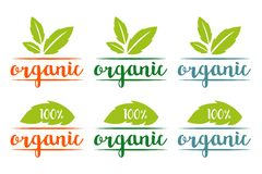 logotipo orgánico del 100% fijado en diversos colores con las hojas herbarias ilustración del vector