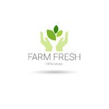 Logotipo orgânico amigável fresco do verde do ícone da Web do produto natural de Eco da exploração agrícola ilustração stock