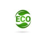 Logotipo orgánico amistoso del verde del icono del web del producto natural de Eco Imagen de archivo
