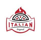 Logotipo original italiano de la pizza en el fuego Imagen de archivo libre de regalías