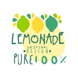 Logotipo original puro del diseño del 100 por ciento del limón, ejemplo dibujado mano colorida sana natural del vector de la insi Fotografía de archivo libre de regalías
