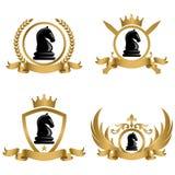 Logotipo ou emblema do conceito do competiam da xadrez Imagens de Stock