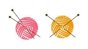 Logotipo ou etiqueta da malha Bola do fio com agulhas de confecção de malhas Ilustração do vetor ilustração royalty free
