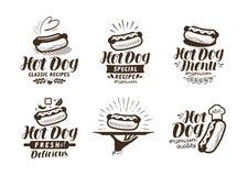 Logotipo ou etiqueta do cachorro quente Fast food, ícone afastado Ilustração do vetor da rotulação ilustração do vetor