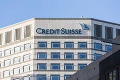 Logotipo ou sinal para Credit Suisse em Canary Wharf Imagem de Stock