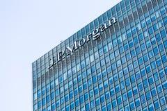 Logotipo ou sinal para JP Morgan em Canary Wharf Imagens de Stock Royalty Free