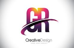 Logotipo púrpura de la letra de GR G R con diseño de línea inclinada Magenta creativa M Imagen de archivo