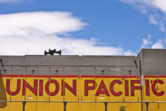 Logotipo pacífico da união na locomotiva Foto de Stock Royalty Free