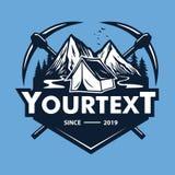 Logotipo para a aventura da montanha, acampando, expedição de escalada do gelo r ilustração do vetor