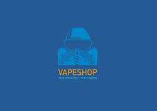 Logotipo para el hombre de la tienda del vape en la capilla con el cigarrillo electrónico ilustración del vector