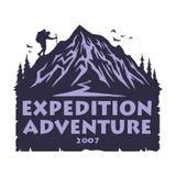 Logotipo para la montaña que acampa, caminando a Forest Adventure Emblemas, y diseño del vector de las insignias stock de ilustración