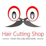 Logotipo para la tienda/el salón del corte del pelo fotos de archivo libres de regalías