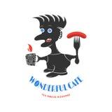 Logotipo para los cafés, restaurantes, barras con una persona en un wh Foto de archivo
