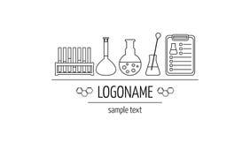 Logotipo para los laboratorios, los negocios, las industrias y los productos químicos, médicos, de investigación Imagen aislada O Fotografía de archivo